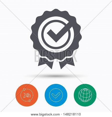 Award medal icon. Winner emblem with tick symbol. Check tick, 24 hours service and internet globe. Linear icons on white background. Vector