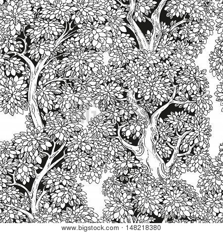 Seamless pattern from graphically drawing trees on white background