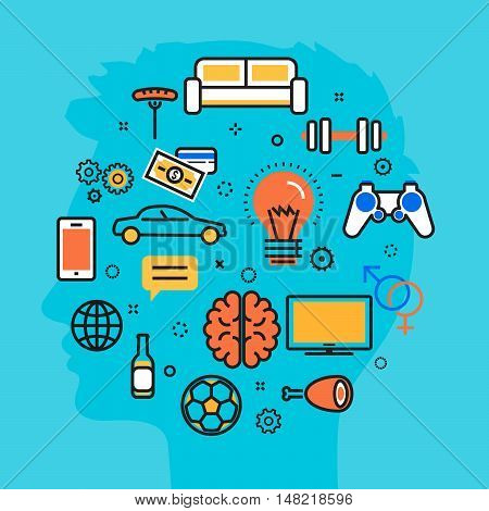 Flat line vector illustration design blue background of men thought process wanted dream idea desire wish habits stereotypes favorite interests. Website blog banner infographic elements