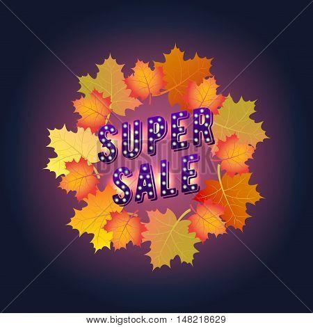 Super Sale banner. Autumn. Paper Design Maple leaves