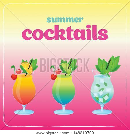 Alcohol cocktail set. Summer holidays vector illustration set with cocktails.