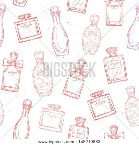 Hand Drawn Vector Seamless Pattern - French Perfume. Outline Design Elements. Fashion Sketch. Backgr
