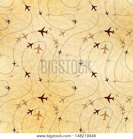 Airline routes map on old textured paper seamless pattern poster