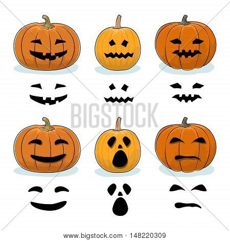 Set of Carved Scary Halloween Pumpkins, a Jack-o-Lantern Pumpkin, Carving Stencil Templates, Vector Illustration