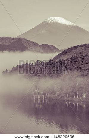 Mt.Fuji and Ashi lake with mist in autumn morning