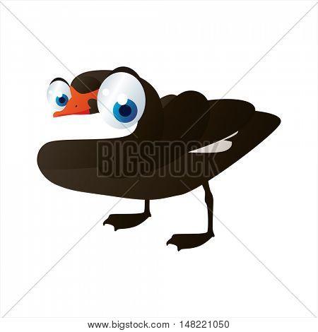 vector funny image of cute bright color animal. Birds. Black Swan