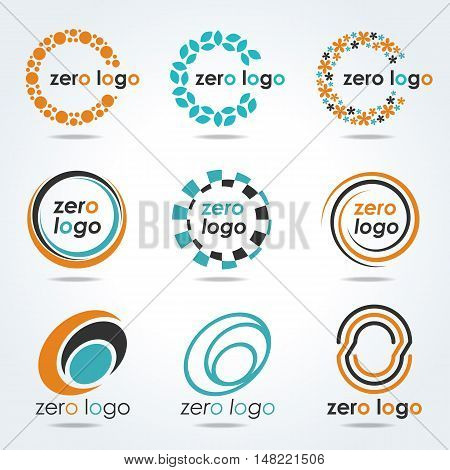 circle zero logo for business vector set design