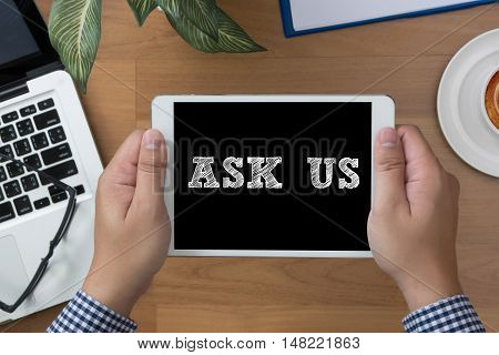 Ask Us Contact  Concept