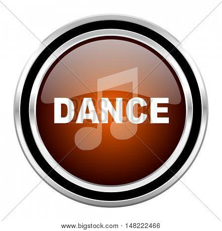 dance music round circle glossy metallic chrome web icon isolated on white background