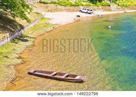 Korana river beach in Karlovac northern Croatia