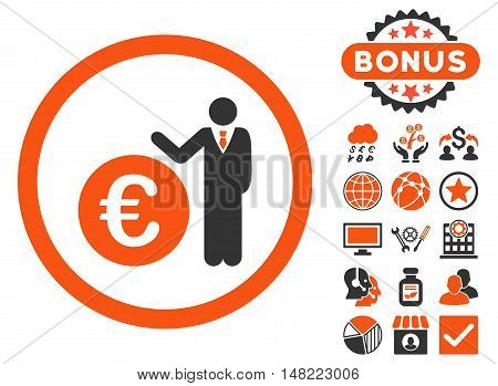 Euro Economist icon with bonus pictogram. Vector illustration style is flat iconic bicolor symbols, orange and gray colors, white background.