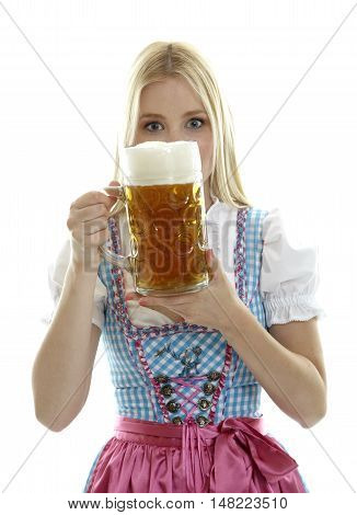 Woman holding an Oktoberfest Beer Mug in front of her