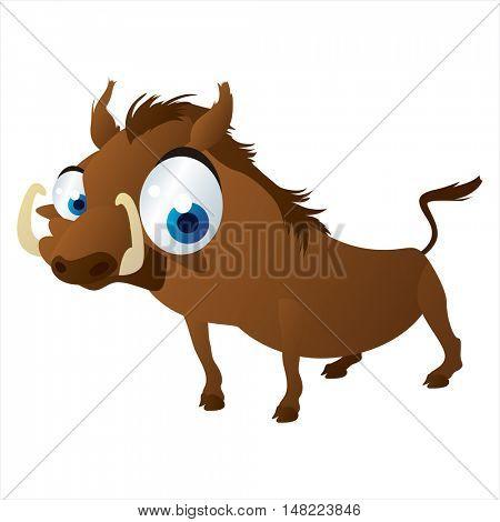 vector cartoon cute animal mascot. Funny colorful cool illustration of happy Warthog