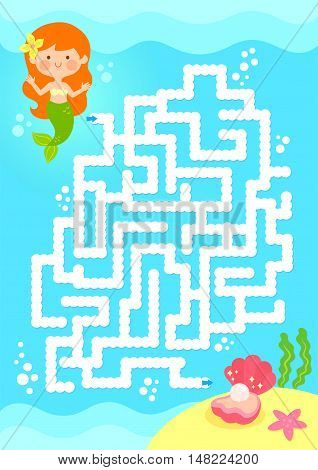 maze game. Help mermaid find the pearl.
