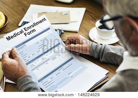 Medical Enrollment Form Document Medicare Concept poster