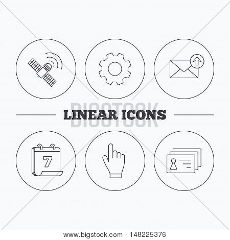 Hand pointer, contacts and gps satellite icons. Outbox mail linear sign. Flat cogwheel and calendar symbols. Linear icons in circle buttons. Vector