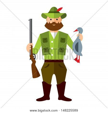 Hunter with a rifle and loot. Isolated on a white background
