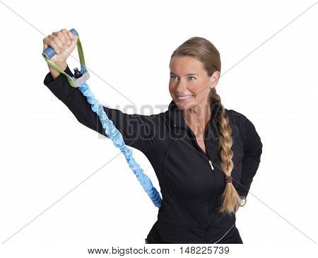 Fitness exercise with elastic strap in front of white background