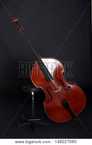 Contrabass on stand in front of black background