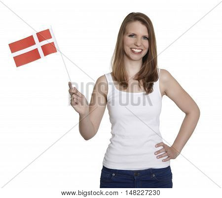 Attractive woman shows flag of Denmark and smiles in front of white background