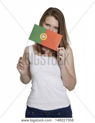 Attractive woman hides her face behind flag of Portugal in front of white background