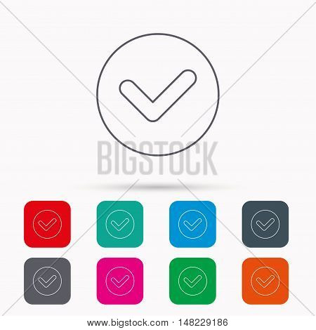 Check confirm icon. Tick in circle sign. Linear icons in squares on white background. Flat web symbols. Vector