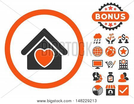 Hospice icon with bonus design elements. Vector illustration style is flat iconic bicolor symbols, orange and gray colors, white background.
