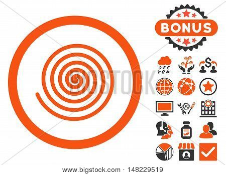 Hypnosis icon with bonus images. Vector illustration style is flat iconic bicolor symbols, orange and gray colors, white background.