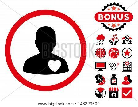 Cardiology Patient icon with bonus pictures. Vector illustration style is flat iconic bicolor symbols, intensive red and black colors, white background.
