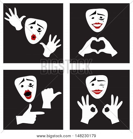 Facial expressions and gestures . Mime mask and gloves . Set. Vector illustration