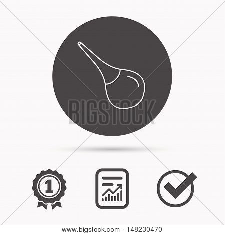 Medical clyster icon. Enema sign. Report document, winner award and tick. Round circle button with icon. Vector