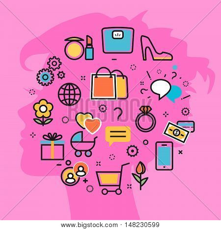 Flat line vector illustration design pink background of women thought process wanted dream idea desire wish habits stereotypes woman favorite interests. Website blog banner infographic elements