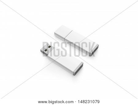 Blank white usb drive design mock up 3d rendering clipping path. Clear plastic flash disk template opened and closed. Plain memory device mockup. Clean pen drive branding presentation. Micro card.
