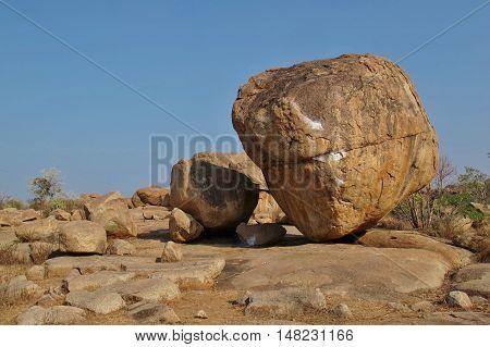 Big granite boulder in Hampi India. Popular rock for bouldering.