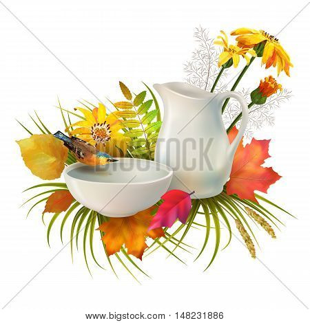 Autumn vector composition. Pitcher and bird drinking water from a pottery bowl, flowers, fall leaves on white background