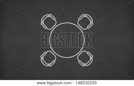 blank circular meeting table on blackboard for your ideas