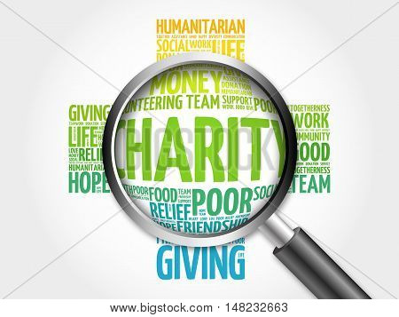 Charity Word Cloud With Magnifying Glass, Cross Concept 3D Illustration