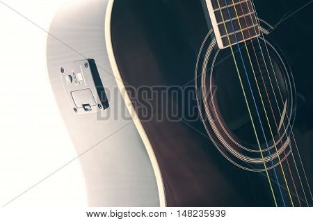 black guitar deck tuner installed in it