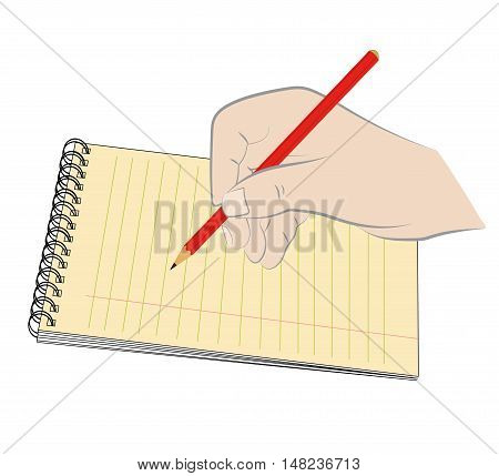 yellow legal pad and a pen with a pencil to write. vector illustration.