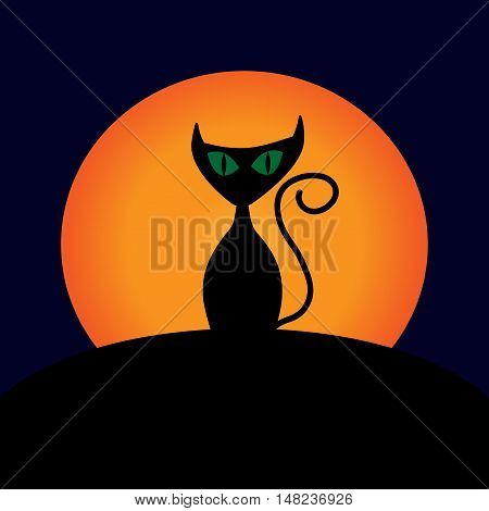 Cat and moon sign. Image of black kitty with green eyes on full moon background. Symbol of superstition.  VECTOR illustration