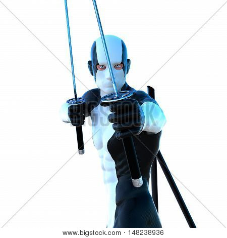 a young strong man in a white and black super suit. He is holding two swords to attack. Close to the camera. 3D rendering, 3D illustration