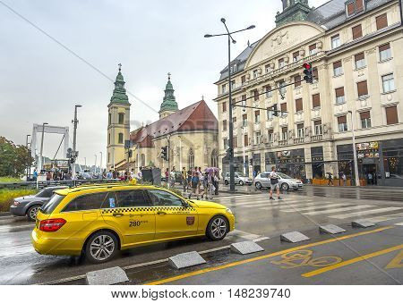 BUDAPEST, SEPTEMBER 17: Taxi to the streets of Budapest on September 17, 2016 in Budapest, Hungary. Taxis in Budapest one of the most popular means of transport among tourists.