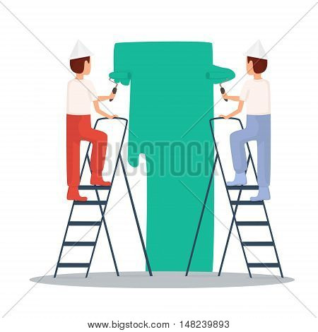 Painting painter. Craftsman painting. Builder Repairs painter in yellow helmet working with tools. Flat design vector illustration.