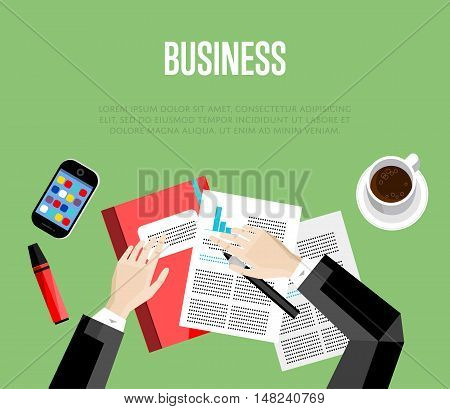 Business template. Top view office workspace, vector illustration. Overhead view of businessman working with financial documents on green background. Office workplace banner with space for text