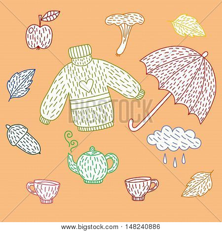 Fall autumn doodles collection vector set for decoration