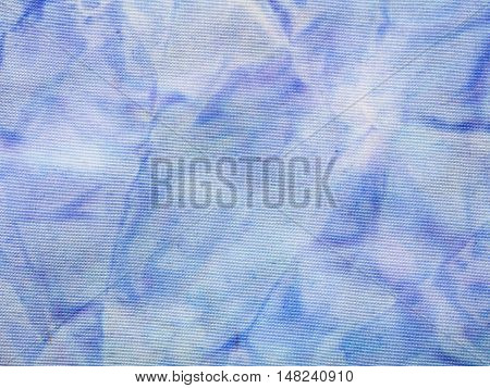 Abstract Blue Colored Silk Batik