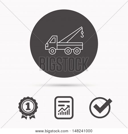 Evacuator icon. Evacuate parking transport sign. Report document, winner award and tick. Round circle button with icon. Vector