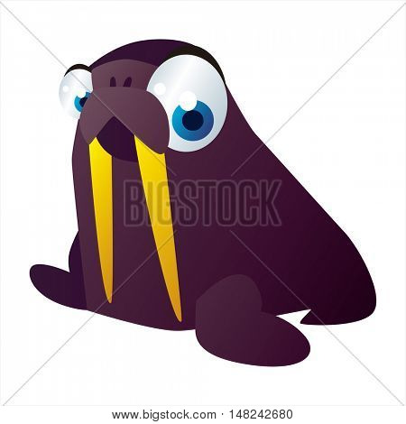 vector cool image of animal. Funny happy Walrus