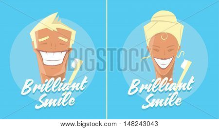 Poster with man smiling. White healthy teeth, toothbrush or toothpaste advertisement. Retro style. Denist service, stomatology.