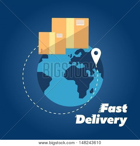Closed cardboard boxes on background of globe. Fast delivery banner, vector illustration. Worldwide shipping and moving service. International postage concept. Postal box symbol.